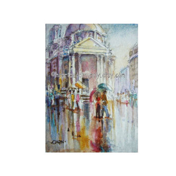Romantic Italy original aceo painting, peinture, rain, landscape id1360868, love, couple, atc, not a print, wall art