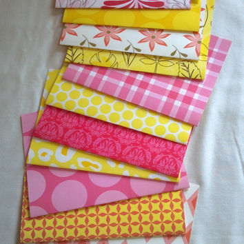 Handmade Pink Lemonade 5x7 Envelopes Set of 12 - Colorful Paper Designs