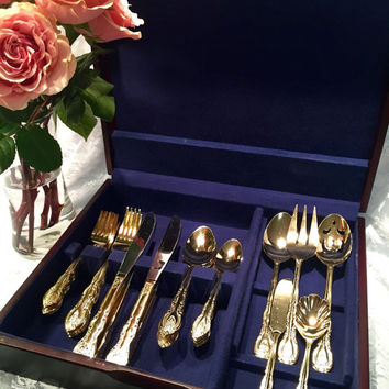 Antique Gold Rose Flatware Set Service for 8 with Bonus Hostess Set Gold Plated Silverware International China