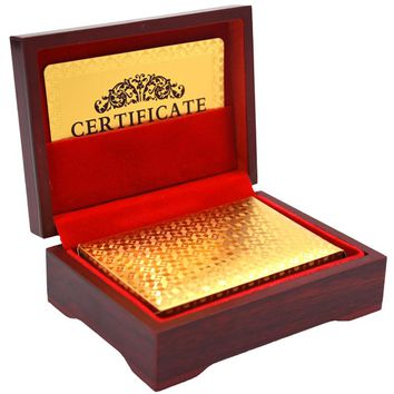 Silver Gold Playing Cards In Wooden Box 24 Carat - Certificate Included