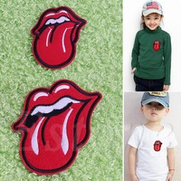 1pcs Gothic Punk Tongue Embroidery Cloth Iron On Patch Sew Motif Applique beautiful and in delicacy.