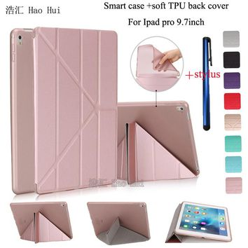 Smart Case For Ipad Pro 9.7 Soft TPU Back Cover Ultra Slim Flip Stand Auto Sleep Wake up 5 Shapes Multi Colors+ one stylus gift
