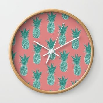 Pineapple Sorbet (pink) Wall Clock by The Wallpaper Files | Society6
