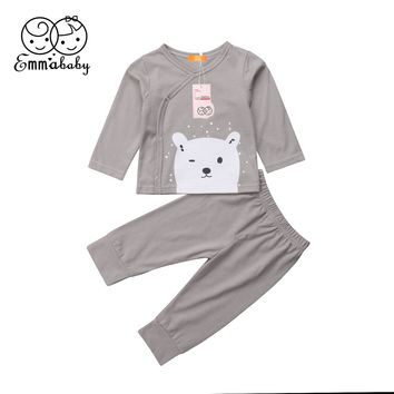 Newborn Baby Boy Girl Cotton Top Shirts Pants Leggings Cartoon Outfit Clothes