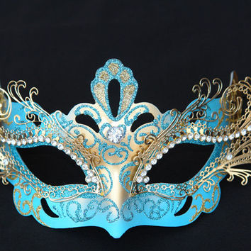 Blue & Gold Venetian Angel 3D Metal Laser-Cut Masquerade Mask with Rhinestones