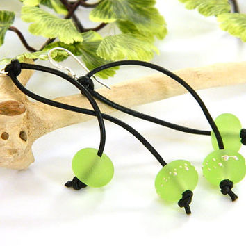 Lime Green Earrings, Lamp work Glass, Black Leather Cord, Long Earrings, Sterling Silver, Handcrafted Earrings, Leather Earrings, Dangle