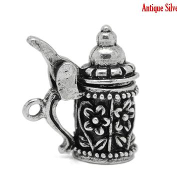 Doreen Box Lovely 10PCs Antique Silver Flower Pattern German Beer Stein Charm Pendants 19mm x 18mm (B19703)