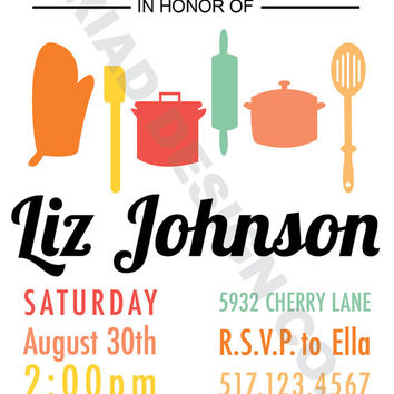 "Printable Bridal Shower Invite - Digital Bridal Shower Invite - DIY Kitchen Shower - ""The Liz"""