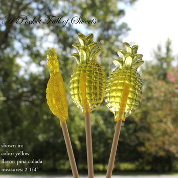 12 PINEAPPLE Barley Sugar Candy Lollipops Birthday Party Favors Summer Party Hawaiian luau