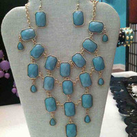 Blue Statement Necklace & Earring Set