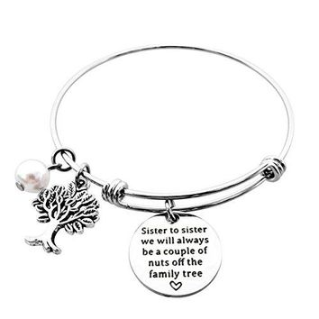 ALoveSoul Sister Bracelets Gifts  Sister To Sister We will Always Be A Couple Of Nuts Off The Family Tree Charm Bangle Bracelet