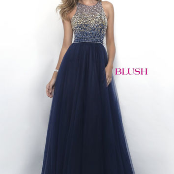 Blush Beaded Illusion Neck A-line Dress- Navy/Gold