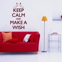 Words Sign Quote Keep Calm And Makea Wish Vinyl Decals Wall Art Sticker Home Modern Stylish Interior Decor for Any Room Smooth and Flat Surfaces Housewares Murals Design Graphic Bedroom Living Room (4296)