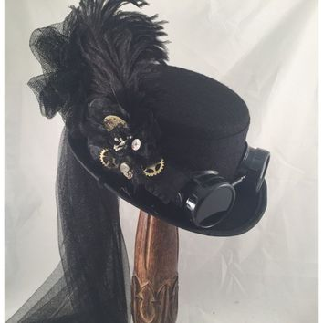 Steampunk Black Felt Riding Hat with Paisley Band and Netting