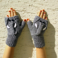Elephant gloves, adult size, elephant mittens, elephant fingerless gloves, crochet animal gloves, gift for him, gift for bff, free shipping