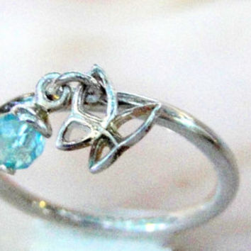 Sterling Butterfly Ring 925 Band Dangling Charm Ring Teal Glass, Size 8