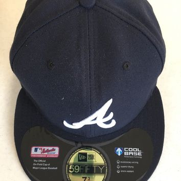 "ATLANTA BRAVES MLB NEW ERA 5950 NAVY WHITE ""A"" FITTED HAT"