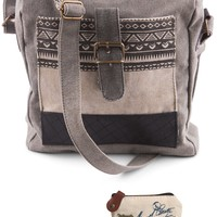 Mona B Upcycled Aztec Canvas & Leather Crossbody Bag with Coin Purse