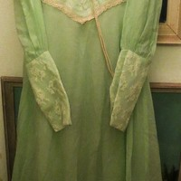 Vintage seafoam green 1970s Prairie Dress