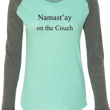 Womens Yoga T-shirt Namaste On The Couch Preppy Patch Elbow Tee