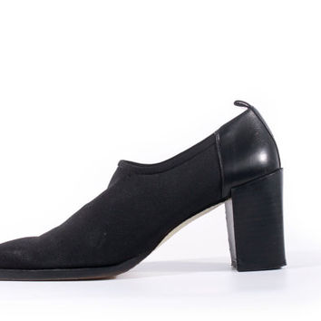 90s Vintage Donald J. Pliner Shoes Black Stretch Neoprene Slip On Chunky Heel Minimalist Goth Shoes Women Size US 8 UK 6 EUR 38/39