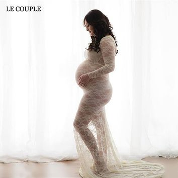 Le Couple Lace Maternity Dresses Maxi Stretchy Pregnancy Dress Maternity Photography Props Maternity Dresses For Photo Shoot
