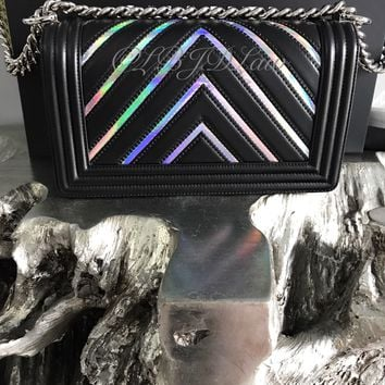 NWT CHANEL 2017 So BLACK Boy Bag IRIDESCENT Chevron Medium Rainbow Mermaid New