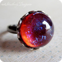 Molten Lava: mexican opal dragon's breath glass stone and aged silver adjustable cocktail ring