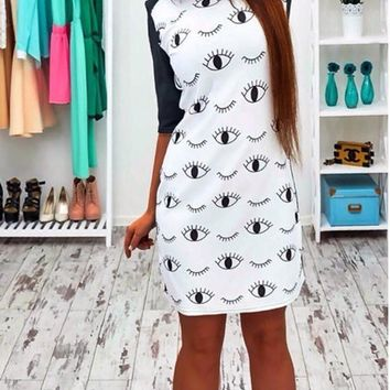 White Floral Eyes Print Round Neck Elbow Sleeve Mini Dress
