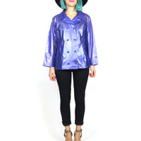 90s Clear Rain Jacket Purple Cropped Trench Style Mod Kawaii Club Kid Rave See Through Rainwear (XS/S)
