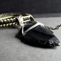 Arrowhead Necklace:  Black Obsidian Stone Men's Necklace, Black and White Macrame Cord Unisex Jewelry
