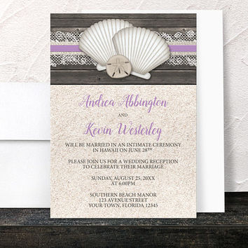 Purple Beach Reception Only Invitations - Seashells Lace Rustic Wood and Sand Beach - Purple Beige Brown - Printed Invitations