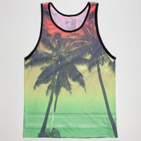 Blue Crown Rasta Sunset Mens Tank Green  In Sizes