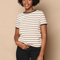 Barb Striped Ringer Tee