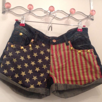 American Flag Denim Jean Shorts by FrmRagz2Richez on Etsy