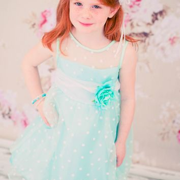 Mint & White Polka Dot Crystal Organza Girls Dress 2T-12