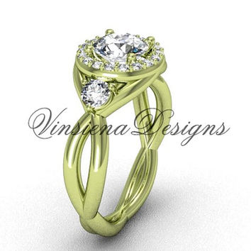 """Unique 14kt yellow gold Three stone engagement ring, """"Forever One"""" Moissanite VD8127"""