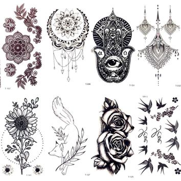 Black Lace Hamsa Mandala Flower Henna Fake Tattoo Women Faske Jewelry Body Hands Art Temporary Tattoo Stickers Girls Arm Tatto