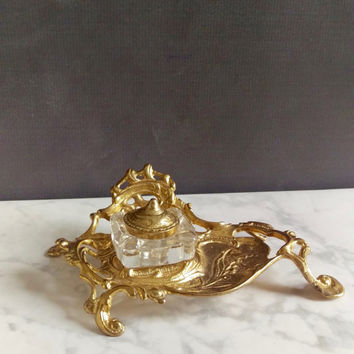 Vintage Brass and Glass Inkwell/ Inkwell/ Ink Well/ Brass Inkwell/ Art Nouveau Inkwell/ Lily of the Valley/ Ornate Inkwell/ Antique Office