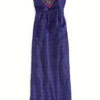 AEO Women's Embroidered Halter Maxi Dress