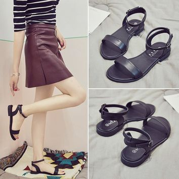 Stylish Design Flat Summer Ladies Korean Peep Toe Roman Plus Size Sandals [11513283092]