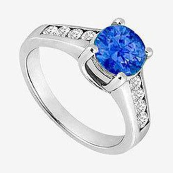 14K White Gold Engagement Ring with 1 carat natural Sapphire and side Diamond 1.40 ct. TGW