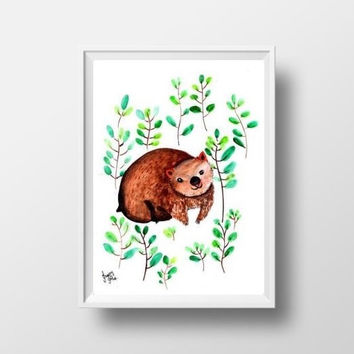 Wombat watercolor painting Cute baby australian animal wall art print poster decor girl room decal print animal cub large small nursery 8x10