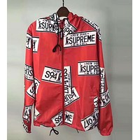 """Supreme"" Popular Unisex Fashion Print Ultrathin Windbreaker Prevent Bask Hoodie Zipper Outdoor Coat Red I-CN-CFPFGYS"