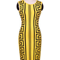 Geometric Pattern Print Sleeveless Pencil Bodycon Midi Dress