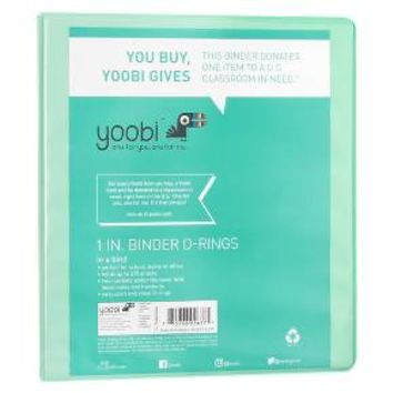 "Yoobi™ 1"" 3Ring Binder with Easy-Open D-ring, 8.5"" x 11"""