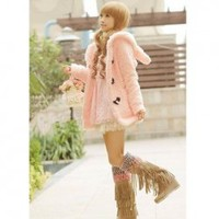 Super Cute Rabbit Shape Special Button Pink Long Sleeves Fleeces Hood Coat For Women China Wholesale - Sammydress.com
