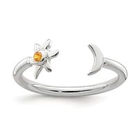 Sterling Silver Half Moon And Sun Orange CZ Adjustable Ring