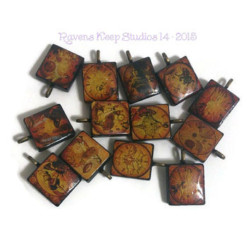 CLEARANCE! Assorted Steampunk Pendants, Scrabble Tile Pendants, Scrabble Tile Jewelry, Scrabble Charms, Angels, Dancers, Dragons, Bees