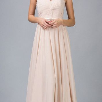 Sweetheart Neck Ruched Bodice Long A Line Champagne Gown